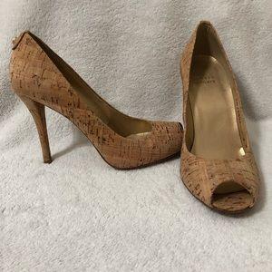 Stuart Weitzman Sz 8 Natural Cork Peep Toe Heels